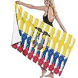 N/A Toallas de baño de 52x32 Pulgadas Bandera de Ecuador Puño en Relieve Toalla de Playa Multiusos Sobredimensionado Absorbente de Agua súper Suave