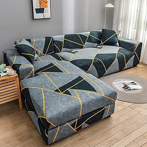 PPOS Fundas de sofá en Forma de L con Estampado de Estilo para Sala de Estar Protector de sofá Fundas elásticas Antipolvo para sofá de Esquina A10 4 Asientos 235-300cm-1pc