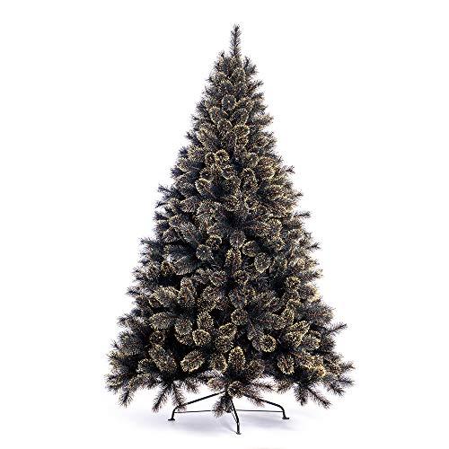 Nataland Albero di Natale Artificiale Nero con Punte Oro Modello Elgon Altezza 210 Cm, Abete Super Folto con Effetto Realistico e Rami con Aghi Anticaduta (210 Cm, Modello 1)
