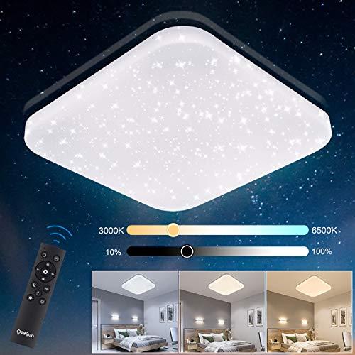 Oeegoo LED Deckenleuchte Dimmbar, 24W 1680Lm Sternenhimmel Deckenlampe mit Fernbedienung, Flimmerfrei Kinderzimmerlampe Schlafzimmerlampe Wohnzimmerlampe, Lichtfarbe 3000-6500K, Helligkeit 10%-100%