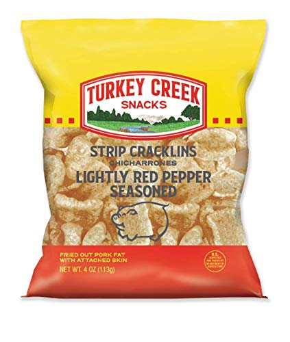 Turkey Creek - America's Best Fried Pork Skins, offers a 12 Bags of Red Pepper Pork Strip Cracklins. These Pork Skin Chips (Chicharrones) are packed in full 4.0 oz bags.