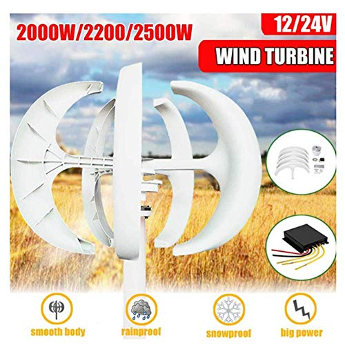 SISHUINIANHUA 2000/2200 / 2500W 12V 24Volt 5 Cuchillas Eje Vertical Linterna Generador de turbina eólica + Controlador de Viento Regalo Apto para Luces caseras Barco,24v,2000w