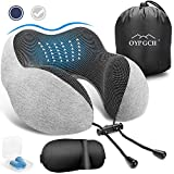 OYRGCIK Travel Pillow, 100% Pure Memory Foam Neck Pillow, Soft & Breathable Cotton Cover, Machine Washable Airplane Travel Kit U Shaped Pillow with 3D Contoured Eye Mask, Earplugs, Travel Bag, Gray