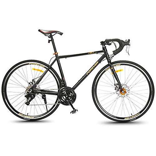 HAOYF Road Bike, 27 Speed 27.5-Inch Bicycles, Adult Aluminum Alloy Frame Ultra-Light Bicycle, Carbon Fiber Fork Endurance Road Bicycle, City Utility Bike,Black