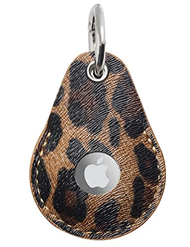 Heesch Case Compitable with Apple Airtag Case Keychain AirTag Holder Leather Air Tag Key Ring Airtags Accessories Loop 1 Pack Leopard