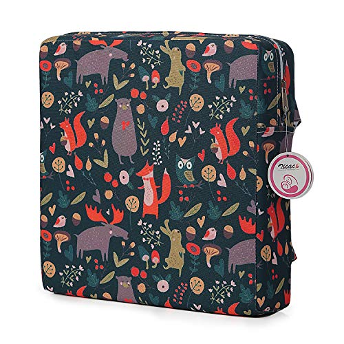 Booster Seat Owl Printed Harness Cushion Dismountable Kid Baby Seat Highten Pad Travel Storage Chair Toddler Infant Dining Chair (Dark Gray)