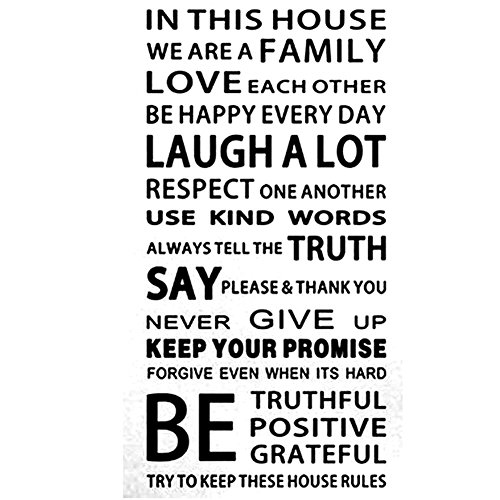Whitelotous Family House Rules Stickers Wall Decal Removable Art Vinyl Home Decor