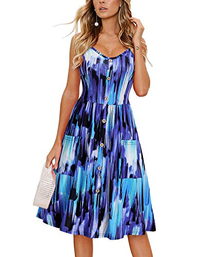 KILIG Women Summer Dress Floral Print Spaghetti Strap Button Down Casual Sundress for Beach Wedding Party (C19-Floral,Small)