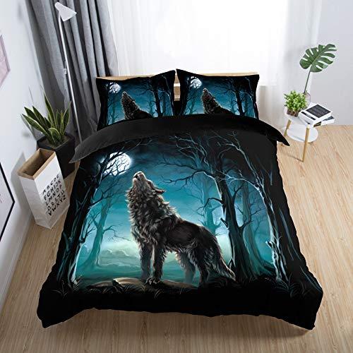 Sticker superb Otoño Invierno Calentar Azul Gris Negro Juego de Funda nórdica con Cremallera, Animal 3D Lobo Gato Rinoceronte Juego de Cama Hotel Lujo 3 Piezas (Lobo 1, 180x220cm para Cama 105/90cm)