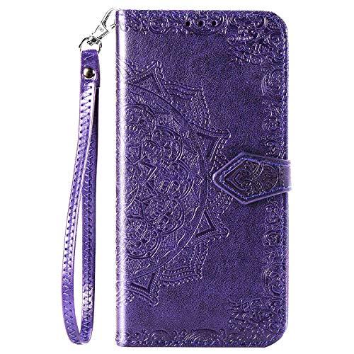 CaseHQ Kompatibel mit iPhone 12 Hülle 15,5 cm, iPhone 12 Pro Hülle 15,5 cm (2020), Brieftaschen-Hülle für Damen und Mädchen, Premium-Band mit Kartenhalter, 3D-geprägte Datura-Blume, PU-Leder, Violett