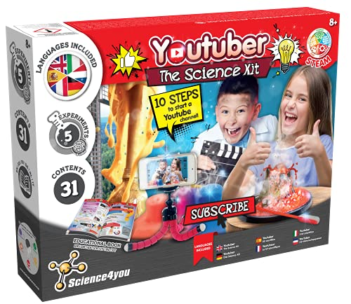 Science4you – Be a Youtuber Kit para Niños 8 Años - CREA tu Canal y Haz 5 Experimentos para Niños 8 Años con el Laboratorio de Quimica, Kit Cientifico para Niños Multi Idioma, Juegos Niños 8-12 Años