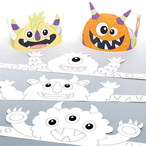 Baker Ross Monster Kronen Halloween Bastelhüte zum Ausmalen (8 Stück)