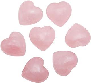 Loveliome 7 Pcs Natural Mini Rose Quartz Heart Love Healing Palm Crystal Energy Stone(0.6 Inch)