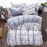Juego de ropa de cama de 135 x 200 cm y 1 funda de almohada de 80 x 80 cm, 2 piezas, color gris, funda de edredón suave y mullida, funda de almohada blanca con cremallera