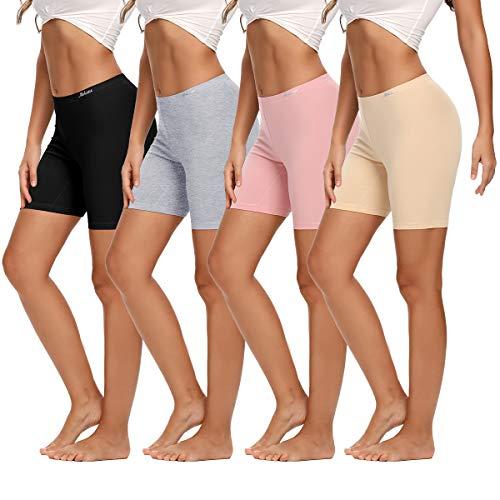 Molasus Womens Boxer briefs Cotton Boy Shorts Underwear Anti Chafing Bike Short Long Leg Under Shorts Multicolor 4 Pack Size 7