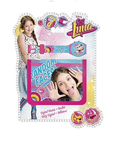 Soy Luna- Set con reloj de pulsera digital y billetera, unica (Kids Euroswan WD18193)