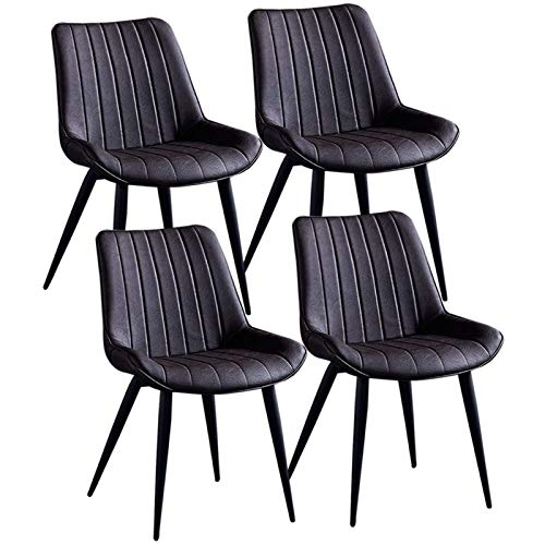 Set of 4 Modern Dining Room Chairs Sturdy Metal Legs Faux Leather Office Chair Cushioned Soft Seat Dining Living Bedroom Home Office Chairs (Color : Brown)