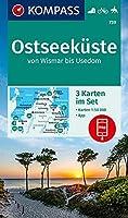 KOMPASS Wanderkarte Ostseekueste von Wismar bis Usedom: 3 Wanderkarten 1:50000 im Set inklusive Karte zur offline Verwendung in der KOMPASS-App. Fahrradfahren. Reiten.