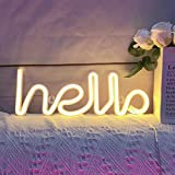Neon Light,LED Hello Neon Word Sign Neon Letters Light Art Decorative Lights,Marquee signs/Wall Decor for Christmas,Birthday party,Kids Room,Living Room,Wedding Party Supplies(Warm White or Blue)