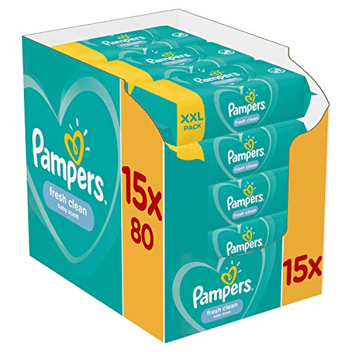 Pampers Fresh Clean - Lingettes Bébé - Lot de 15Paquets de80 (1200Lingettes)