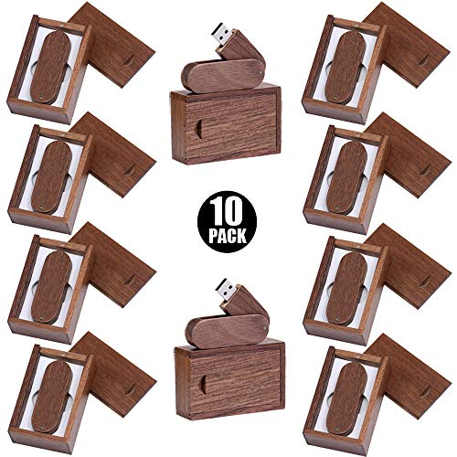 E.T. INSIDE Memoria USB de Madera 10PCS / Pack con Cajas de Madera 8GB Flash Memory Disk USB 2.0 Thumb Pen Drive para Fotografia