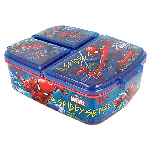 Sandwicheras con 3 Compartimentos para niños - lonchera Infantil - Porta merienda - Fiambrera Decorada (Spiderman)