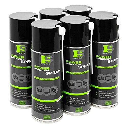 6 x 400ml Spraytive Power Druckluftspray/Druckluftreiniger mit 100mm Sprühverlängerung | Druckluft aus der Dose (Air Duster) | für die Reinigung von Tastatur, PC/Computer, Kamera | Made in Germany!
