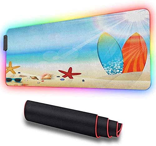 Alfombrilla de ratón suave RGB para juegos Gafas de sol de playa grandes con temática de vacaciones, 11 modos de luz Alfombrilla de ratón ampliada y de gran tamaño, superficie de seguim,90*40*0.3cm