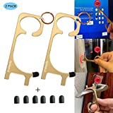 Callancity Contactless Key Handheld Brass No Touch Hand Tool Non-Contact Door Opener with Stylus Touchscreen Button Keychain Tool,Keep Hands Clean,Avoid Direct Touch Tool in The Outside (2)