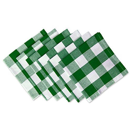 DII Classic Buffalo Check Tabletop Collection for Family Dinners, Special Occasions, Barbeques, Picnics and Everyday Use, 100% Cotton, Machine Washable, Napkin Set, 20x20, Green & White 6 Piece