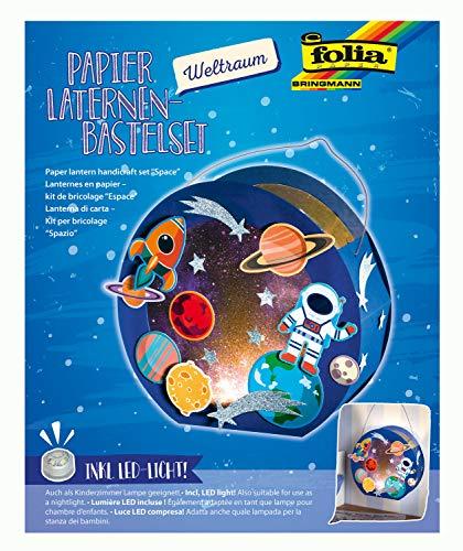 folia 68103 - Laternen - Bastelset, Weltraum, inklusive Laternenstab und LED-Licht