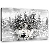 Feeby Vlies Leinwandbild Wald Winter 60x40 cm Druckbild Wandbild Wanddekoration Deko Wand Aesthetic Wolfskopf Grau