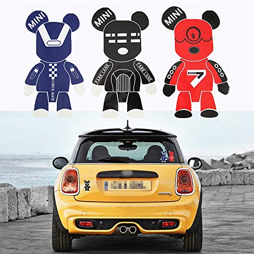 Xotic Tech 3X Cute Cool Gloomy Bears Robot Sticker Red Black Blue Exclusive Window Reflective Vinyl Decal Replacement for Mini Cooper Car Truck Hood Fender Door or Laptop Refrigerator