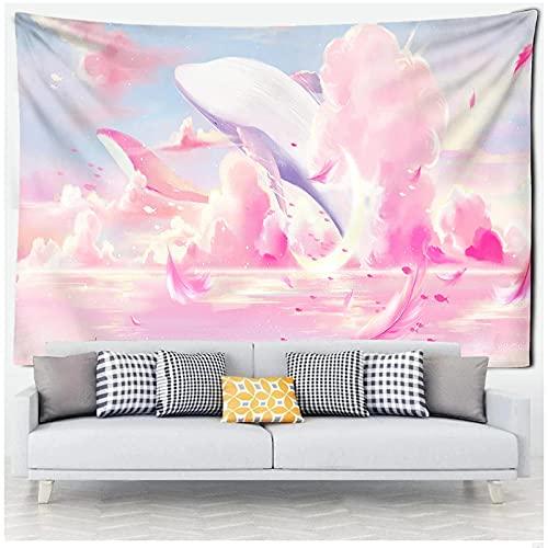 KBIASD Dibujos Animados cómics El Cielo delfín Tapiz Colgante de Pared Rosa púrpura Nube tapices Dormitorio decoración de la Pared decoración de la habitación 150x130cm