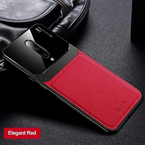 ZIXI beschermhoes voor OnePlus iPhone 7, PU-leer, spiegels, plexiglas, siliconen, schokbestendig, voor bumpers Plus 6 6T 7T Pro, Oneplus 7 Pro, Rood
