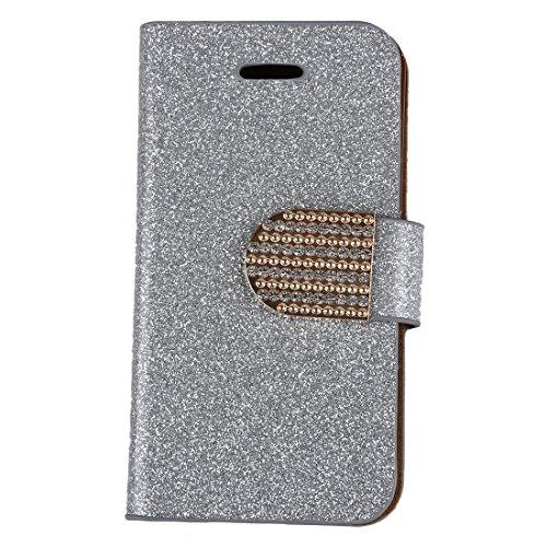 cherrypop Cubierta de la caja del soporte de la cartera del tirón del diamante de cristal popular de la plata para 4 4S