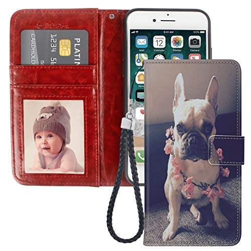 Pingge iPhone 6 iPhone 6S Wallet Case French Bulldog with Pink Flowers Lightweight Slim Shockproof Cellphone Case Cover with Card Slots Kickstand for iPhone 6 iPhone 6S