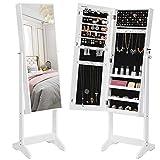 SONGMICS Mirrored Jewelry Cabinet Armoire, Standing Full Body Larger Mirror, Lockable Jewelry Organizer, White UJJC69WT