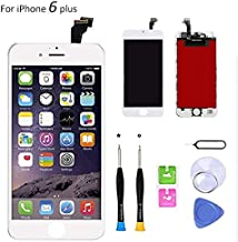 Screen Replacement Compatible with iPhone 6 Plus 5.5 Inch LCD - Compatible for iPhone 6 Plus LCD Touch Screen Display Repair Kit Assembly with Complete Repair Tools (White)