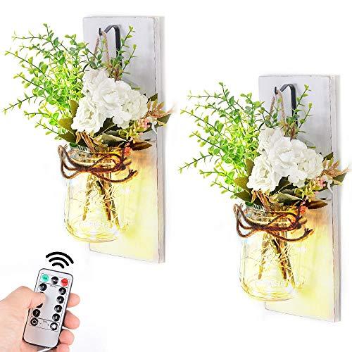 MXCZ 2 Stück Einmachglas Wandlampen Lampe wasserdichte Holzplatte Glas Wandleuchte DIY Wanddekoration Mit Fernbedienung Wandkunst Hängen Design-Weiß