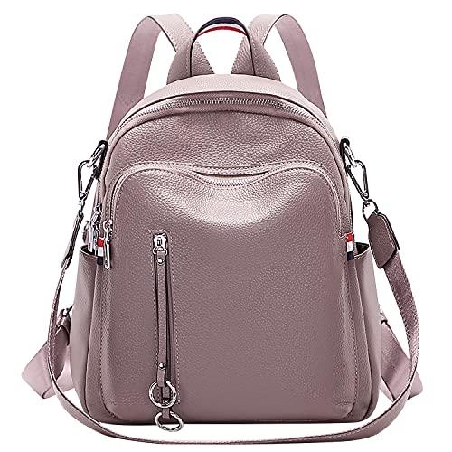 ALTOSY Echtes Leder Rucksack Damen Elegant Schultertasche Frauen Mode Casual Daypack (S9, dunkles Mauve)