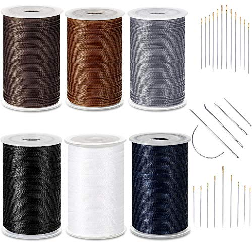 6 Color Strong Upholstery Thread High Strength Sewing Waxed Threads with Hand Stitching Needles Set for Denim Leather Craft DIY and Machine Sewing (White, Black, Light Grey, Dark Blue, Khaki, Coffee)