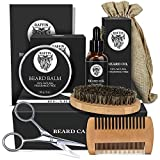 Beard Kit for Beard Growth, Bead Care and Beard Grooming, Men Beard Conditioner with Organic Beard Growth Oil, Beard Balm, Beard Brush, Beard Comb, Storage Bag, and E-Book, Christmas Gifts for Men