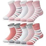 Adorel Calcetines Cortos Algodón para Niñas Paquete de 10 Rosa 22-24 (Tamaño del Fabricante M)