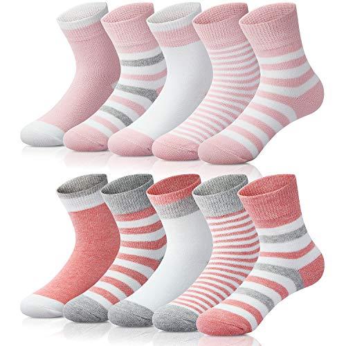 Adorel Mädchen Socken Knöchelhoch Babysocken 10er-Pack Wassermelonerosa & Pink 21-23 (Herstellergröße M)