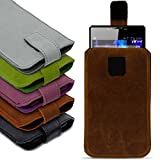 NAUC Universal Smartphone Leder Tasche Pull Tab Sleeve