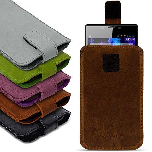 NAUC Universal Smartphone Leder Tasche Pull Tab Sleeve Hülle Schutzhülle Hülle Cover, Farben:Schwarz, Größe:Für 6.0-6.4 Zoll