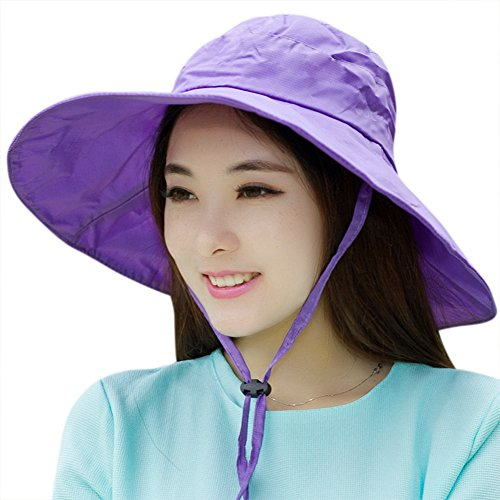Women Summer Rain Hat UV UPF 50 Sun Protection Wide Brim Hat Sun Hat Foldable Bucket Hat Purple