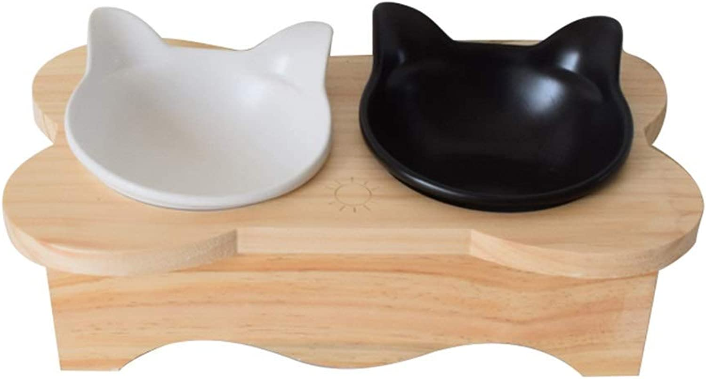 DSADDSD Pet Bowl Dog Cat Bowl Ceramics Double Bowl Food Bowl Rack Pet Supplies