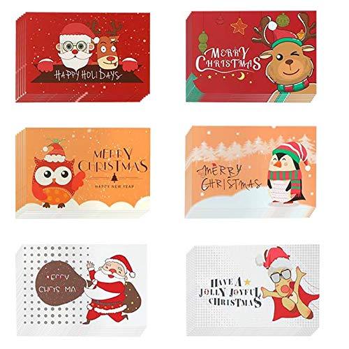 Weihnachtskarten mit Umschlägen und Aufkleber (24er Set),Frohe Weihnachten Karte,Weihnachten Karte,Klappkarten Grußkarten Blanko,Glückwunschkarten für Weihnachtsgrüße Freunde Kunden Kinder